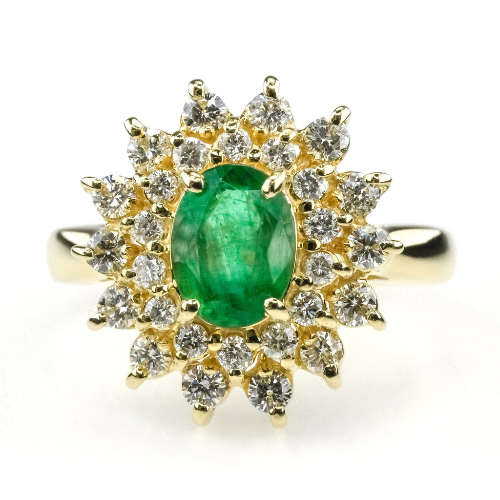 Emerald w/ Double Diamond Halo Ring in 14K Yellow Gold Gemstone Rings Oaks Jewelry