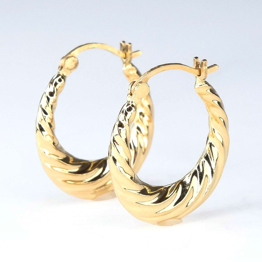 Fluted Hollow Puff Hoop Earrings in 14K Yellow Gold Earrings Oaks Jewelry