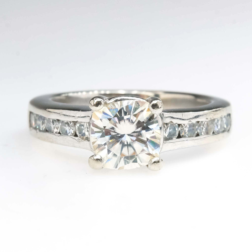 Forever Brilliant Moissanite Channel Engagement Ring in 14K White Gold Engagement Rings Oaks Jewelry