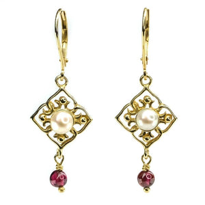 Freshwater Pearl & Garnet Quadrefoil Dangle Earrings in 14K Yellow Gold Earrings Oaks Jewelry