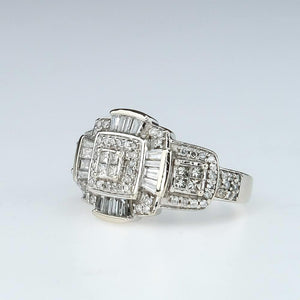 Geometric Cluster Diamond Right Hand Ring 1.18ctw in 14K White Gold Diamond Rings Oaks Jewelry