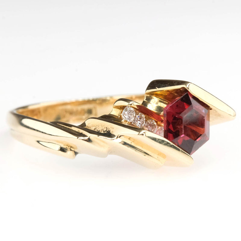 Geometric Freeform Hexagon Cut Garnet and Diamond Ring in 14K Yellow Gold Gemstone Rings Oaks Jewelry
