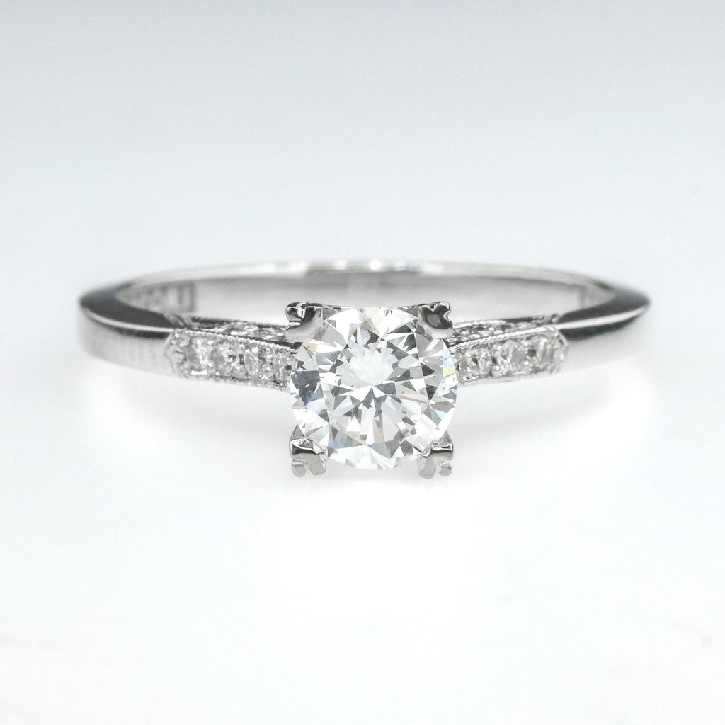 GIA 0.54ct SI1/G Round Diamond Tacori Engagement Ring in 18K White Gold Engagement Rings Tacori