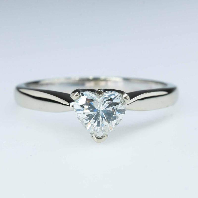 GIA 0.56ct Heart Diamond Solitaire Engagement Ring in 14K White Gold Engagement Rings Oaks Jewelry