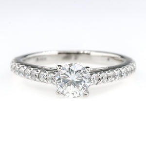 GIA 0.72ct VS1/D Round Diamond & Accents Engagement Ring in 14K White Gold Engagement Rings Oaks Jewelry