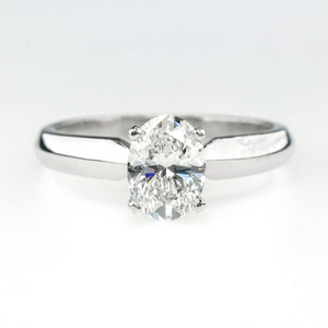 GIA 0.77ct Oval Cut Diamond Solitaire Engagement Ring Size 5 in Platinum Engagement Rings OaksJewelry