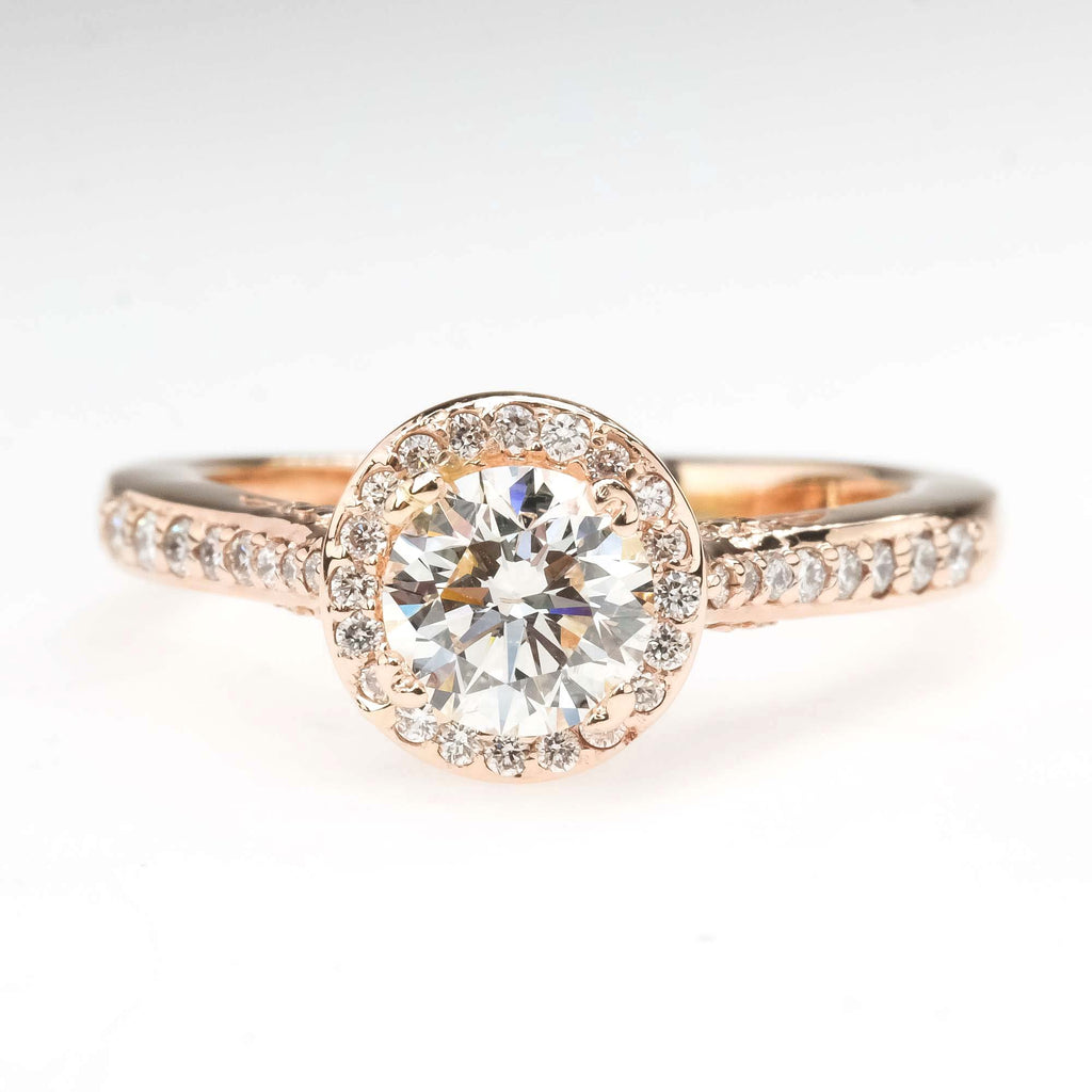 GIA 0.77ct SI1/I Round Diamond Halo Engagement Ring in 14K Rose Gold Engagement Rings Oaks Jewelry