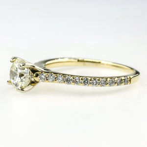 GIA 1.00ct Round Diamond & Side Accents Engagement Ring in 14K Yellow Gold Engagement Rings Oaks Jewelry