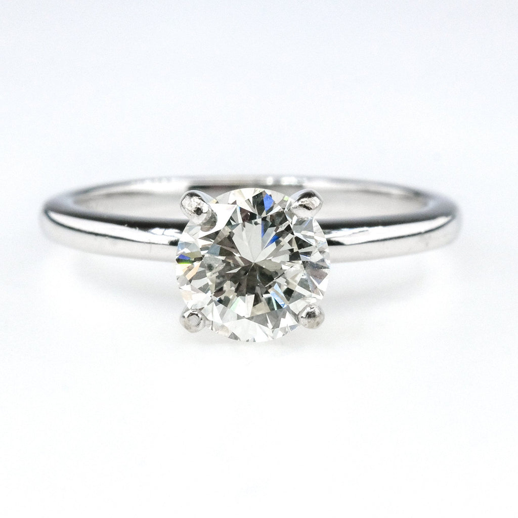 GIA 1.01ct Round Diamond Solitaire Engagement Ring in 14K White Gold Engagement Rings Oaks Jewelry