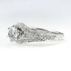 GIA 1.02ct SI2/F Round Diamond & Accents Engagement Ring in 18K White Gold Engagement Rings Oaks Jewelry