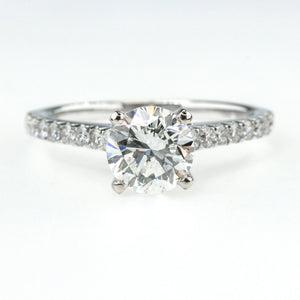 GIA 1.03ct Round Diamond & Side Accented Engagement Ring in 14K White Gold Engagement Rings Oaks Jewelry