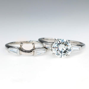 GIA 1.18ct VS1/I Round Diamond with Baguette Accents Bridal Set in Platinum Bridal Sets Oaks Jewelry