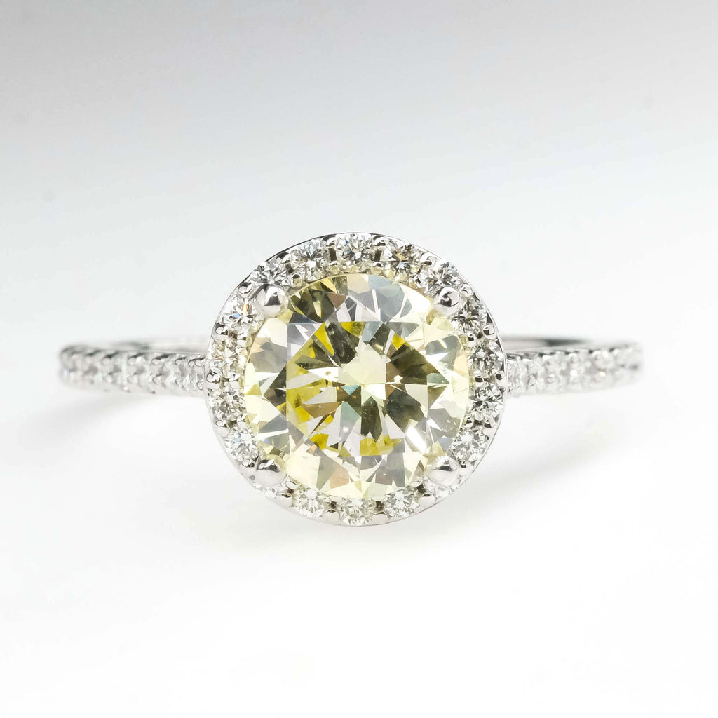 GIA 1.46ct Natural Yellow Diamond Halo Engagement Ring in 14K White Gold Engagement Rings Oaks Jewelry
