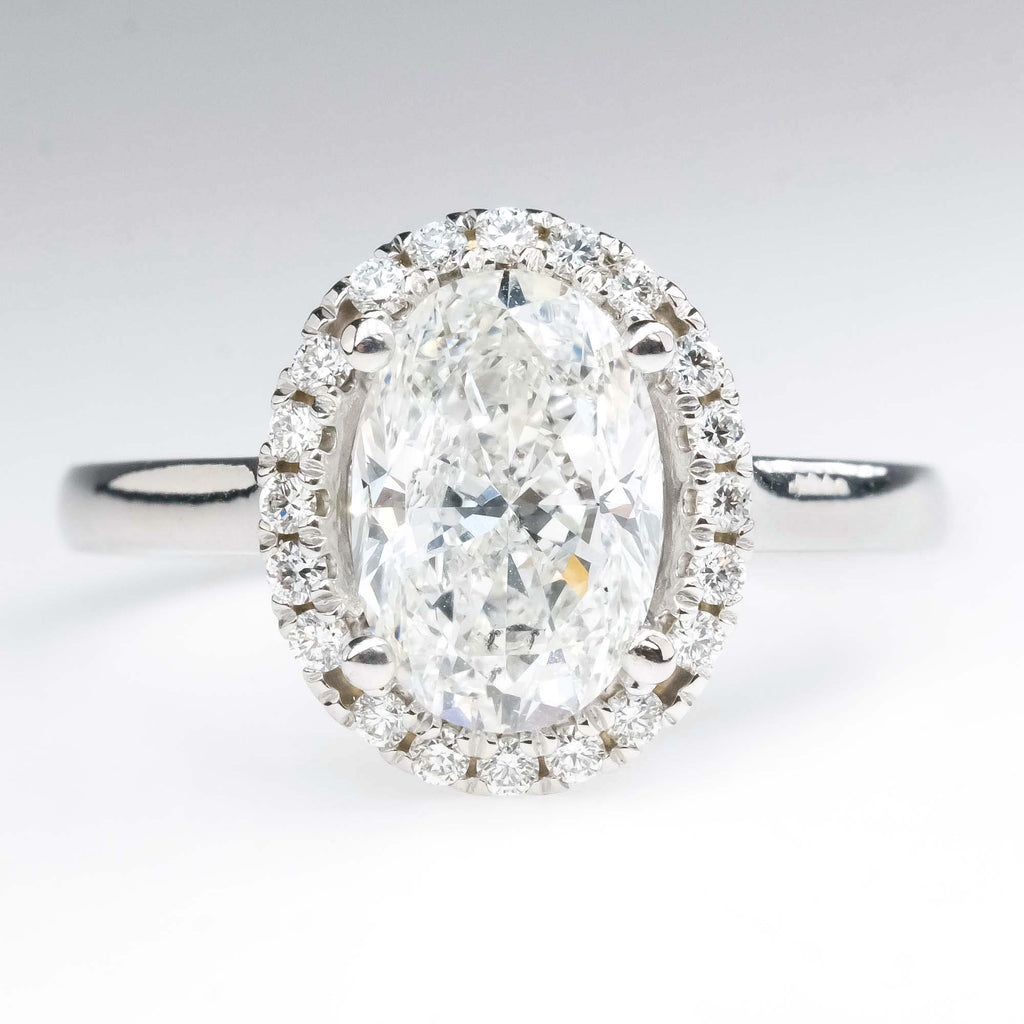 GIA 2.00ct SI1/D Oval Diamond Halo Engagement Ring in 18K White Gold Engagement Rings Oaks Jewelry