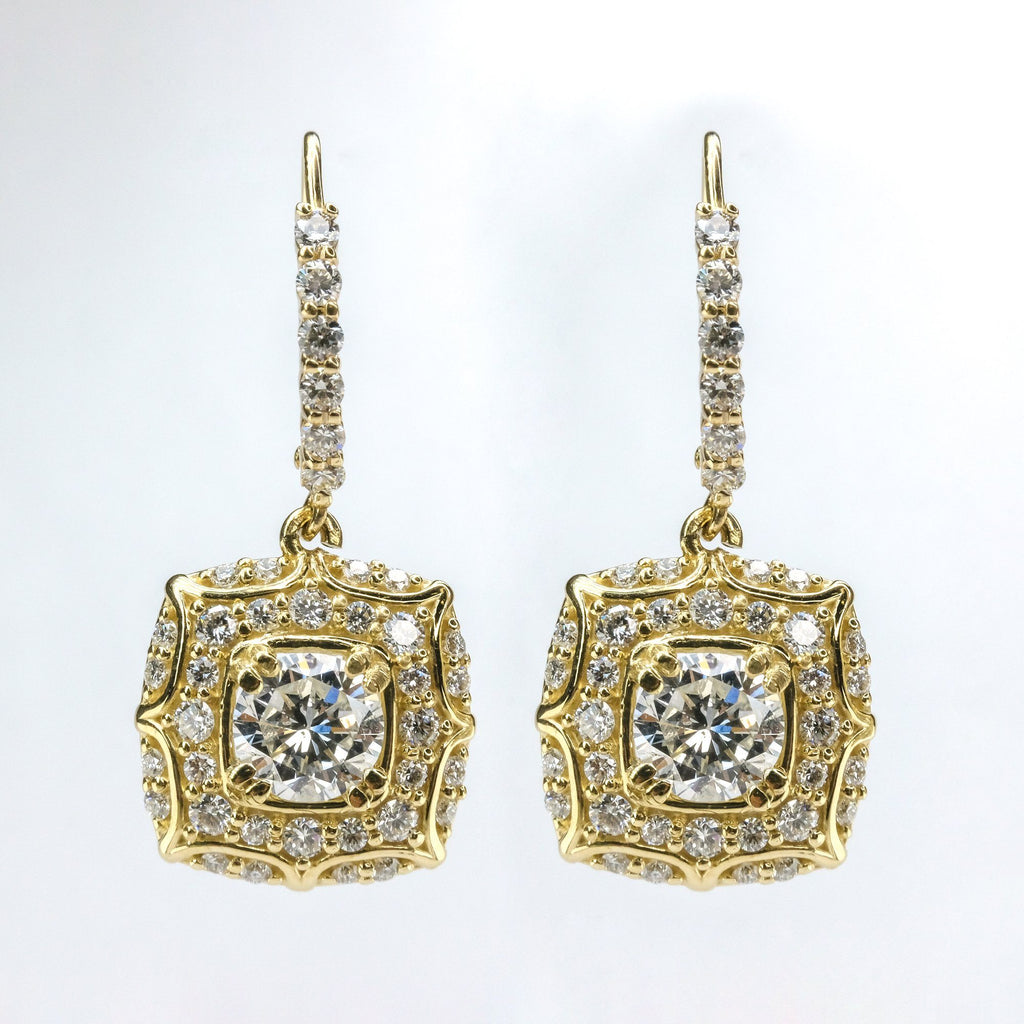 GIA 2.17ctw Round Diamond Accented Halo Dangle Earrings in 14K Yellow Gold Earrings Oaks Jewelry