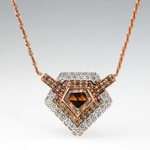 GIA 2.59ct Natural Brown Shield Diamond Double Halo Necklace in 14K Rose Gold Pendants with Chains Oaks Jewelry