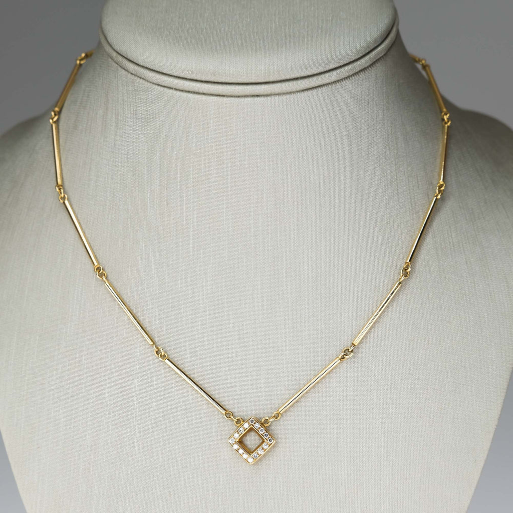 "Gio Carol's 18K Yellow Gold Reversible Diamond Accented Pendant 15.5"" Choker Necklaces Gio Carol's"