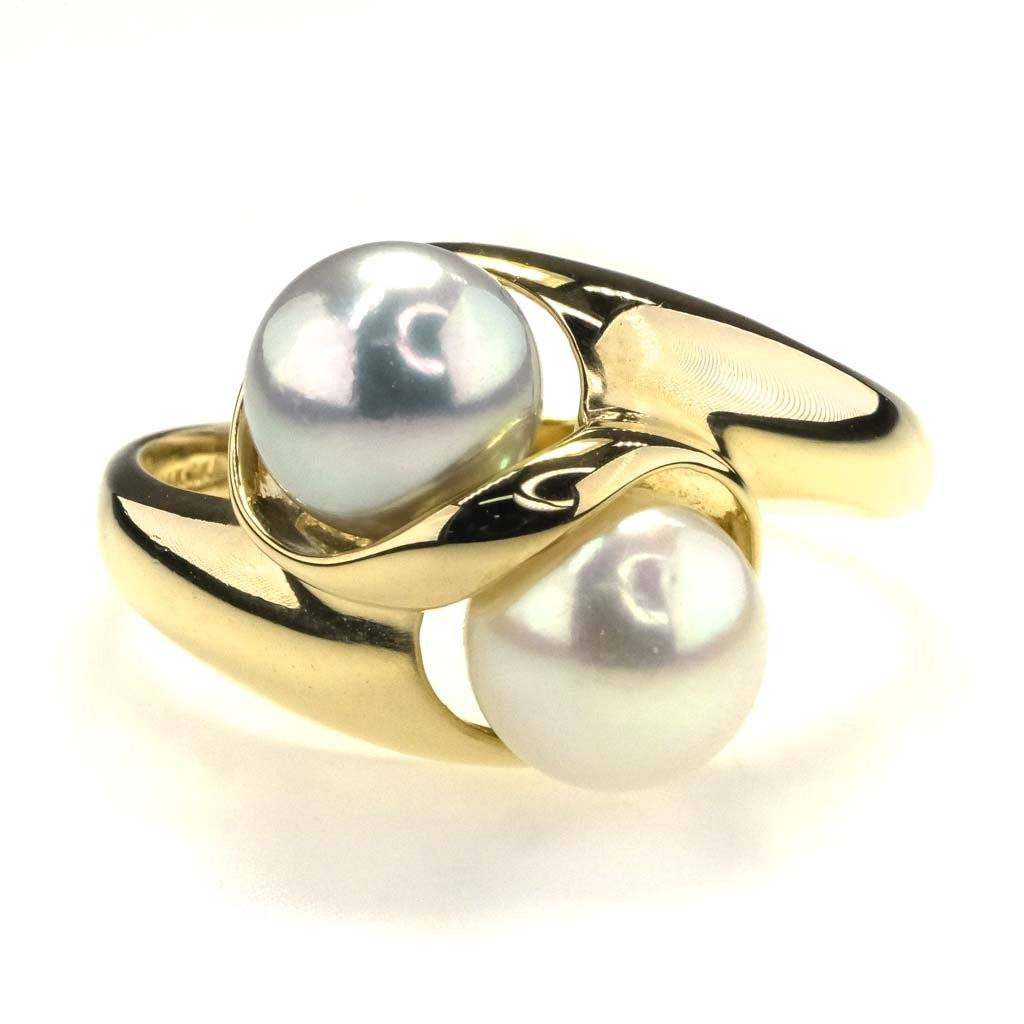 Grey & White Freshwater Pearl Bypass Ring in 14K Yellow Gold Gemstone Rings Oaks Jewelry