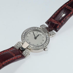 Harry Winston Retired Women's 18K White Gold 0.88ctw Diamond Dial & Bezel Watch Watches Harry Winston