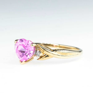 Heart Cut Pink Spinel and Diamond Twist Ring in 10K Yellow Gold Gemstone Rings Oaks Jewelry