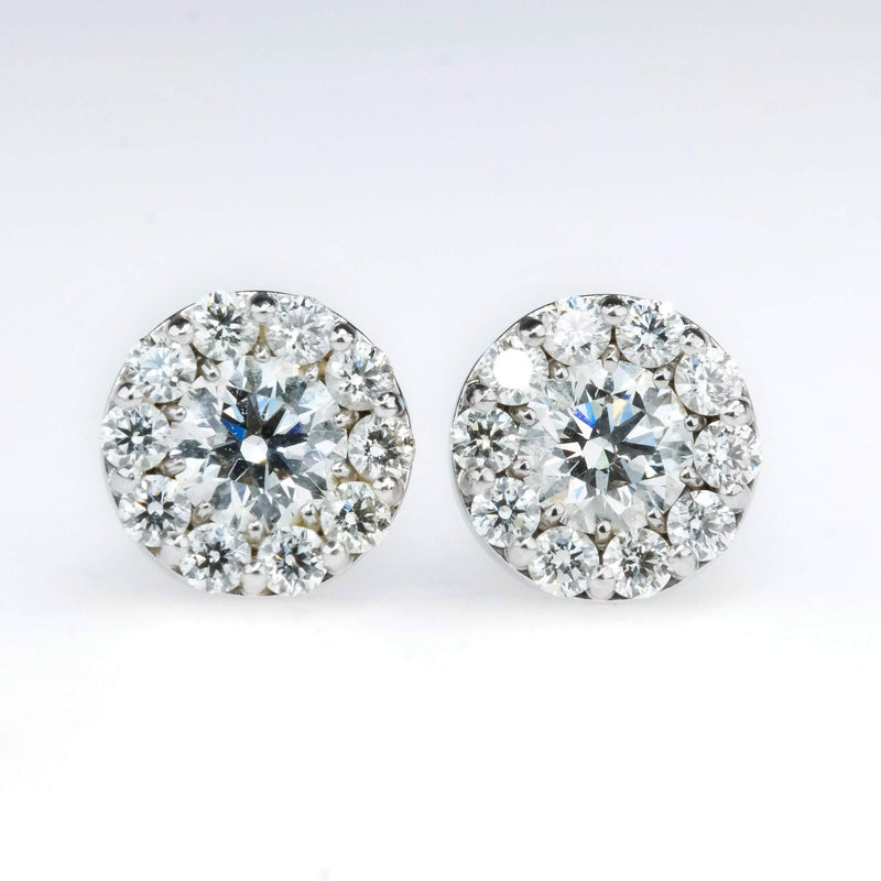 Hearts on Fire Diamond with Halo Stud Earrings in 18K White Gold Earrings Hearts on Fire