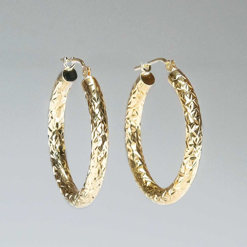 Hollow Diamond Cut Round Hoop Earrings in 14K Yellow Gold Earrings Oaks Jewelry