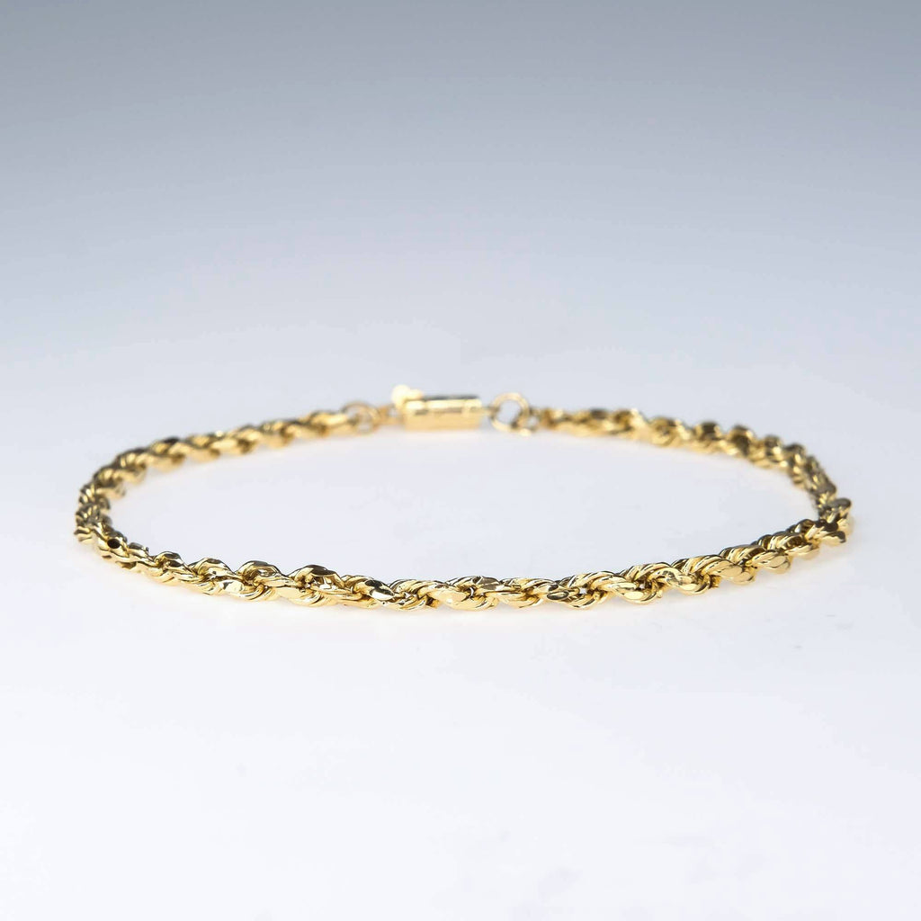 "Hollow Rope Link 9.25"" Bracelet in 14K Yellow Gold Bracelets Oaks Jewelry"