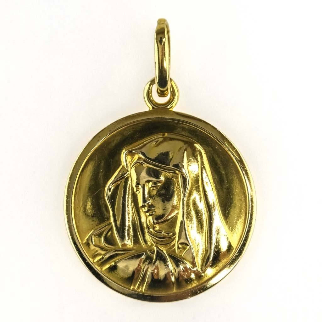 Immaculate Heart of Mary Medal Pendant in 18K Yellow Gold Pendants Oaks Jewelry