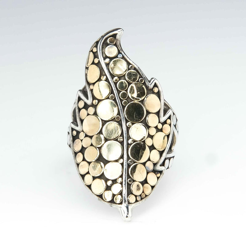John Hardy Ayu Leaf Dot Ring in 18K Yellow Gold & Sterling Silver Metal Rings Oaks Jewelry