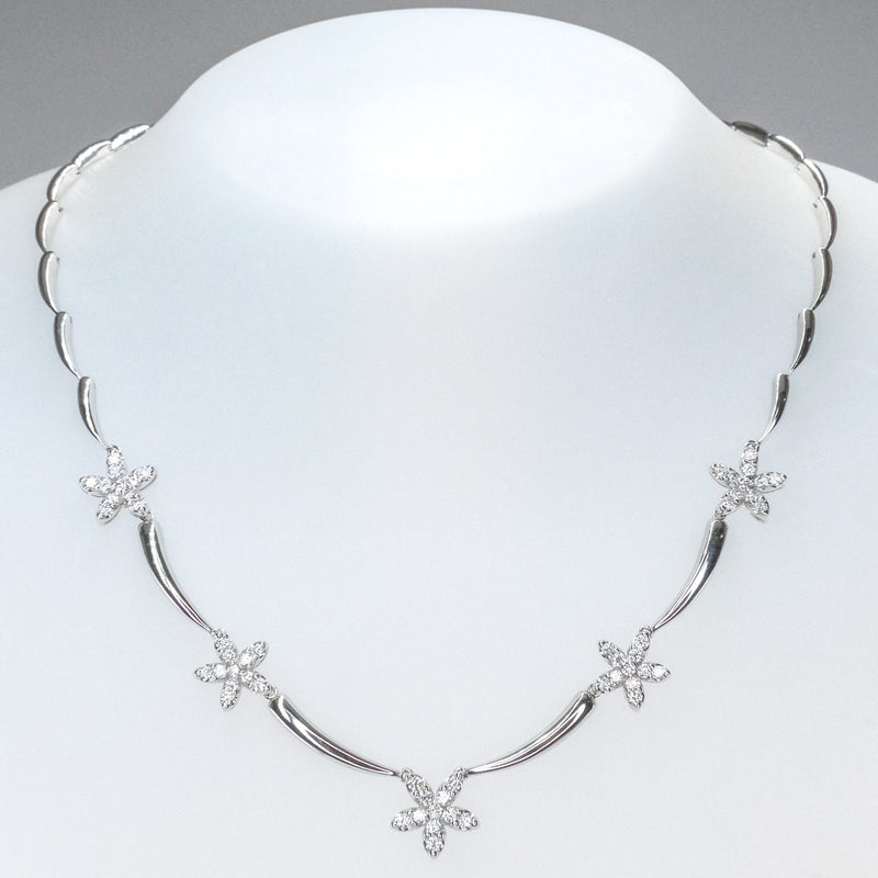 "JYE International 2.05ctw Diamond Accented Station 16.5"" Necklace 18K White Gold Necklaces JYE International"