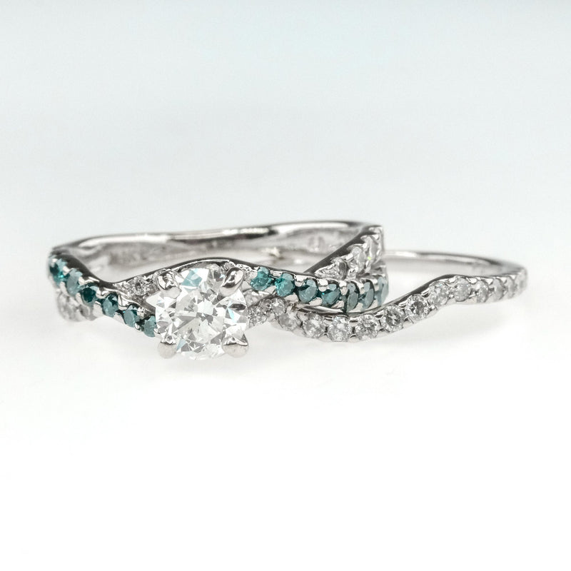 KAY 0.88ctw Blue & White Diamond Accented Bridal Set 14K White Gold Bridal Sets Oaks Jewelry