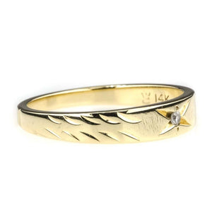 Ladies Diamond Accented Wedding Band in 14K Yellow Gold - Size 6 Wedding Rings Oaks Jewelry