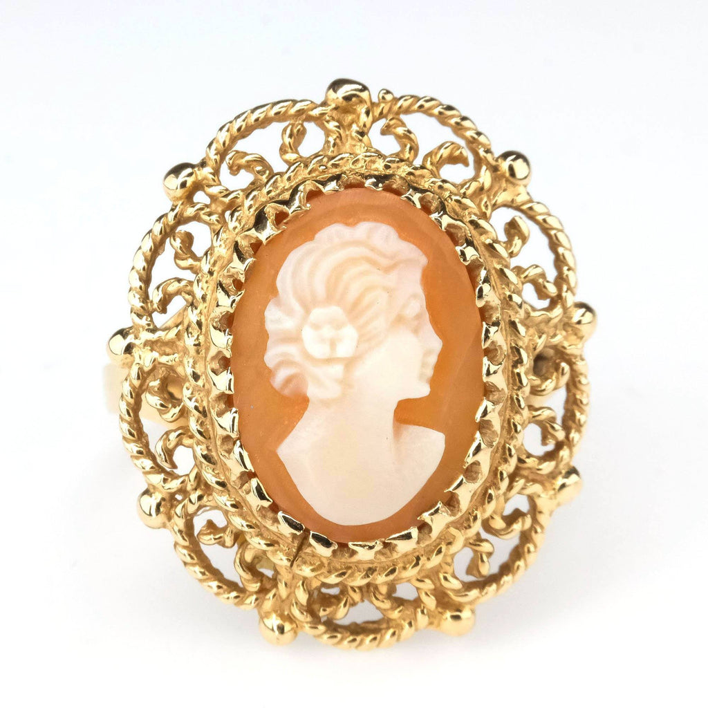 Large Statement Rope Filigree Cameo Ring in 14K Yellow Gold Gemstone Rings Oaks Jewelry