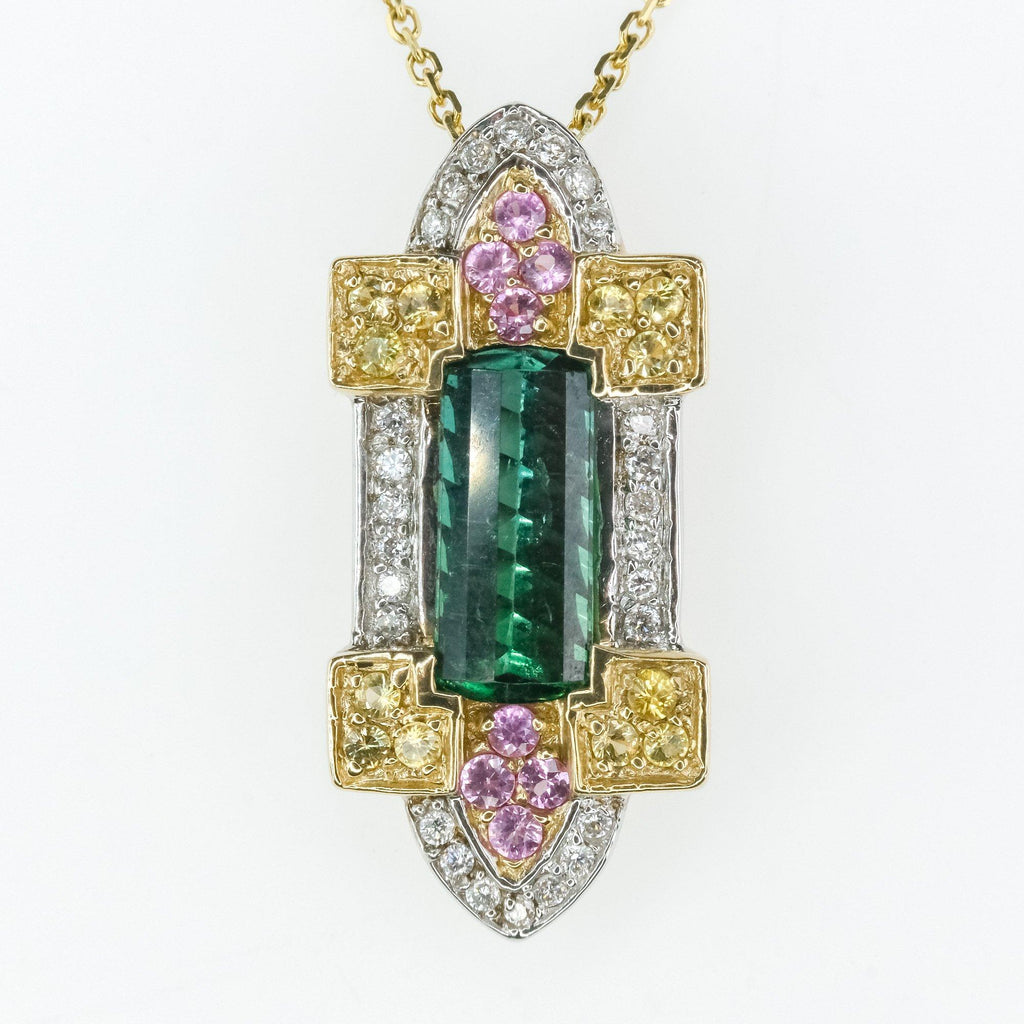 Le Vian 1.50ct Tourmaline w/ Sapphire & Diamond Pendant w/Chain 14K Yellow Gold Pendants with Chains Le Vian