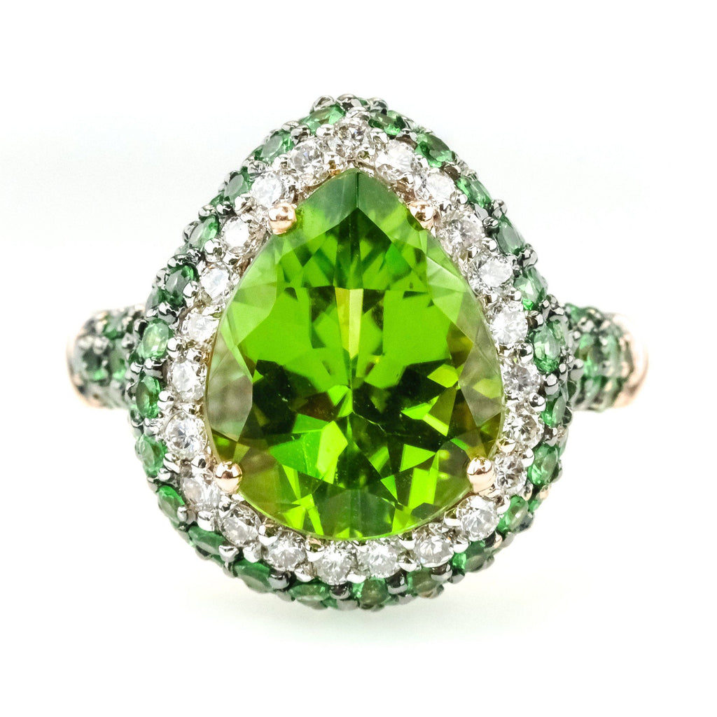 Le Vian 2.00ct Peridot w/ Garnet & Diamond Accents Gemstone Ring in 14K Rose Gold Gemstone Rings Le Vian