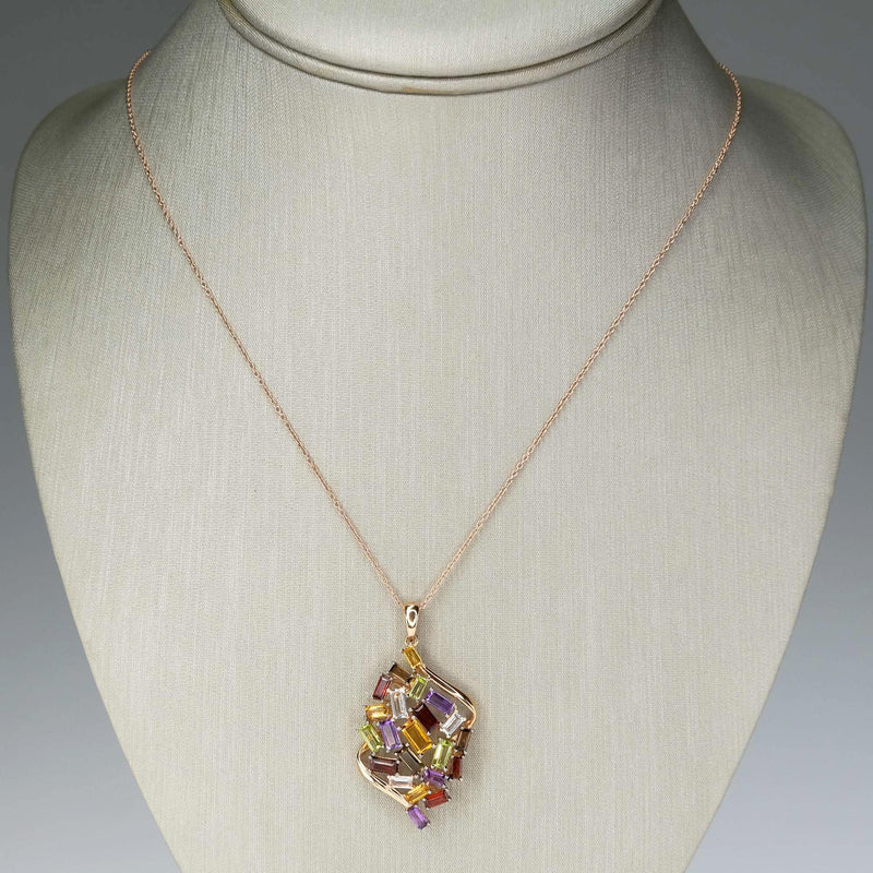 "Le Vian Baguette Frenzy Multi Gemstone Pendant & 18"" Cable Chain in 14K Gold Pendants with Chains Le Vian"