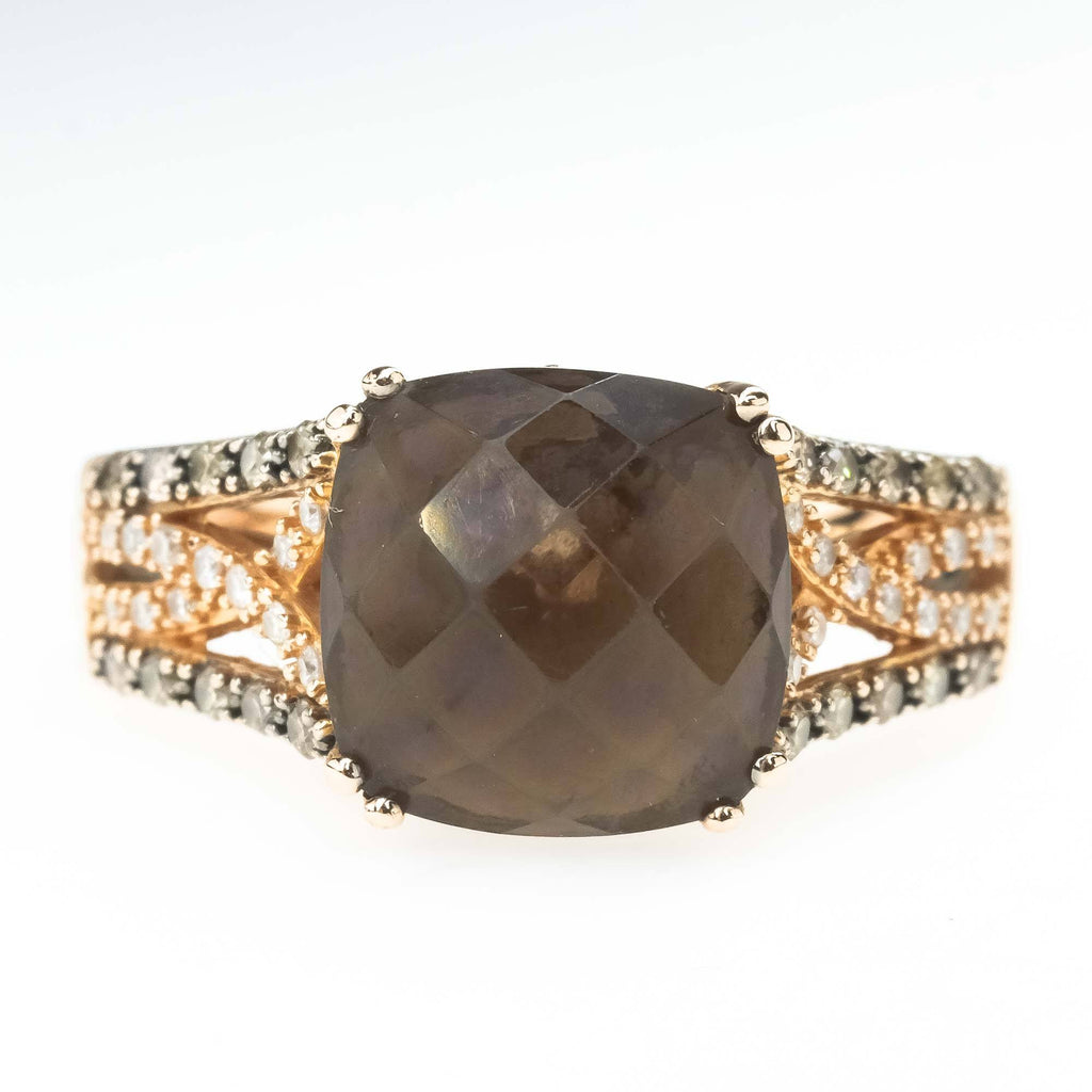 Le Vian Chocolate Smoky Quartz and Diamond Ring in 14K Rose Gold Gemstone Rings Le Vian