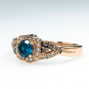 Le Vian Round Deep Sea Blue Topaz & Chocolate Diamond Ring in 14K Rose Gold Gemstone Rings Le Vian