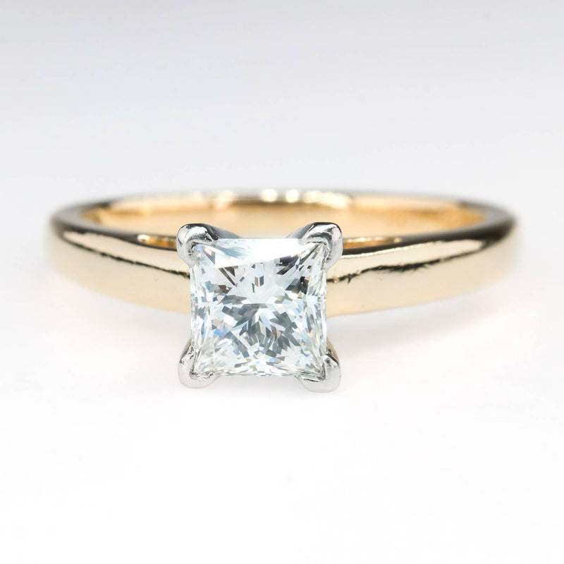LEO 0.98ct Princess Diamond Solitaire Engagement Ring in 14K Yellow Gold Engagement Rings LEO
