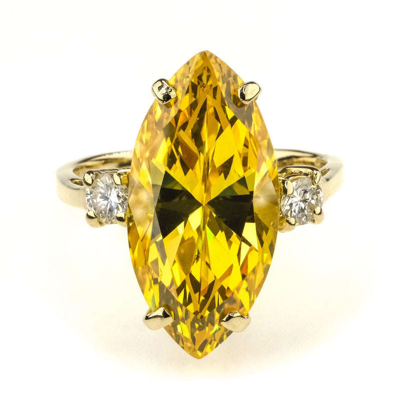 Marquise Cut Citrine with Diamond Ring 5.00ct in 14K Yellow Gold Gemstone Rings Oaks Jewelry