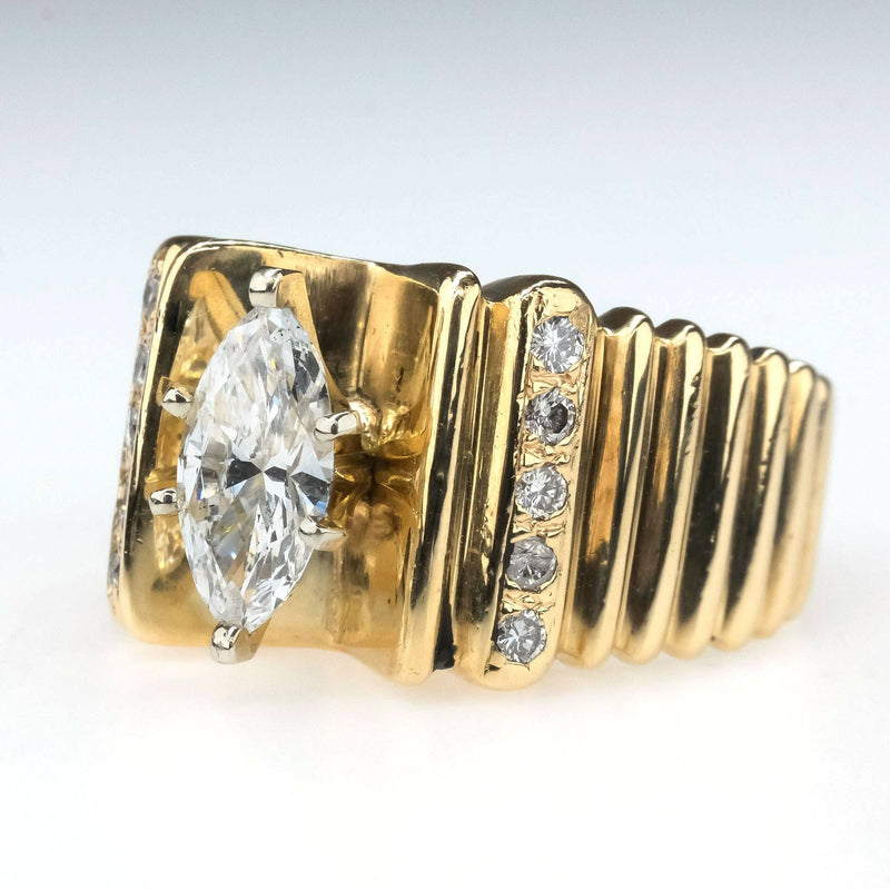 Marquise Diamond Geometric Wide Band Engagement Ring in 14K Yellow Gold Engagement Rings Oaks Jewelry