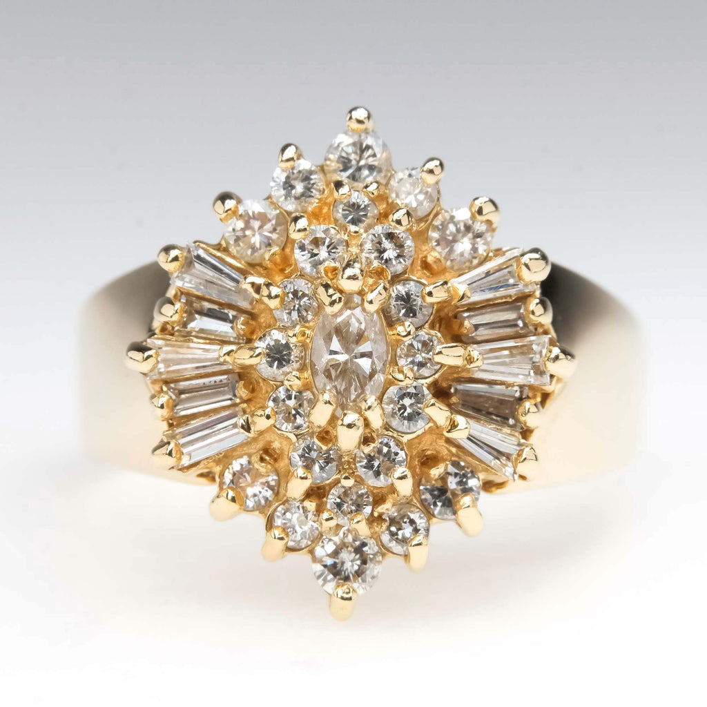 Marquise, Round, & Baguette Cluster Diamond Ring in 14K Yellow Gold Diamond Rings Oaks Jewelry