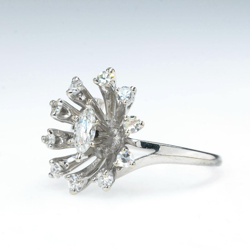 Marquise & Round Diamond Halo Vintage Ring in 14K White Gold Size 6.5 Diamond Rings Oaks Jewelry