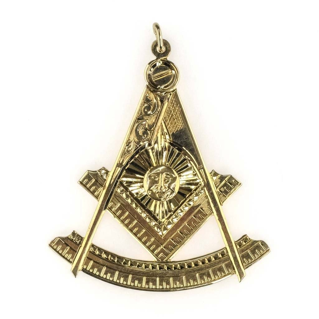Masonic Freemason Pendant in 10K Yellow Gold Pendants Oaks Jewelry