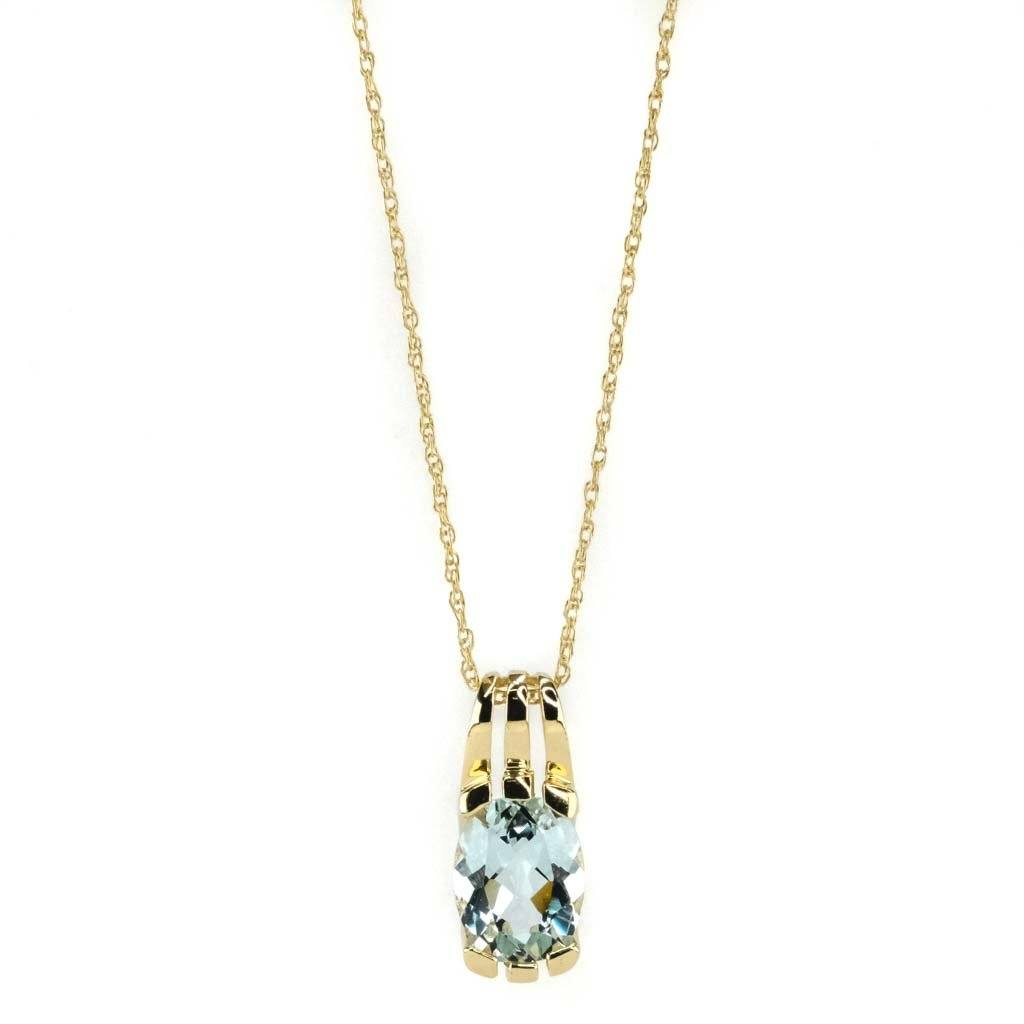 "Modified Oval Aquamarine Solitaire Pendant 19"" Necklace in 14K Yellow Gold Pendants with Chains Oaks Jewelry"