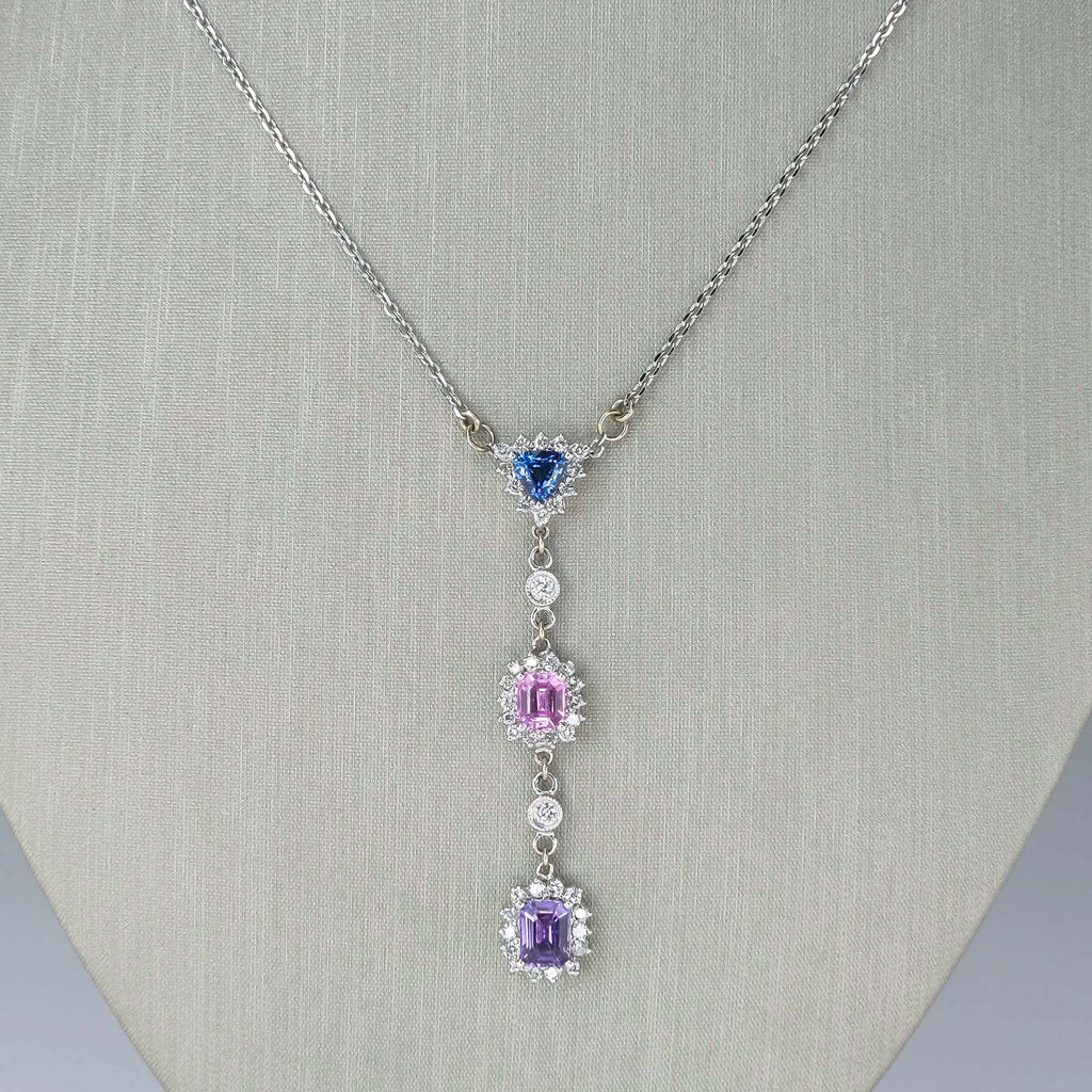 "Multi Colored Sapphire & Diamond Lariat 18"" Necklace in 14K White Gold Necklaces Oaks Jewelry"