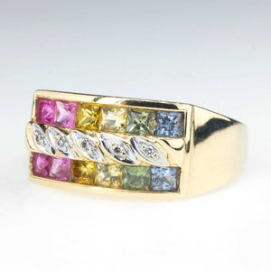 Multi Colored Sapphire & Diamond Wide Ring in 14K Yellow Gold Gemstone Rings Oaks Jewelry