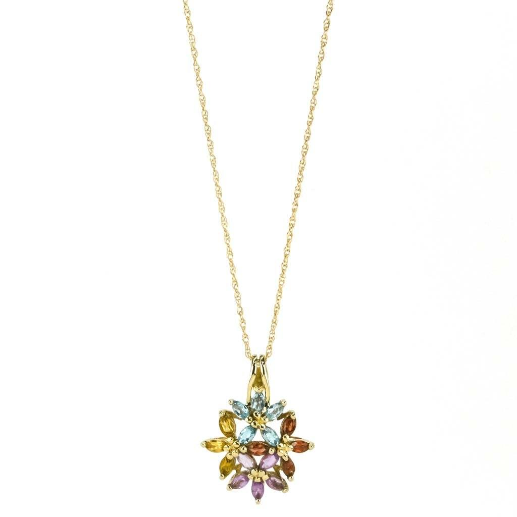 "Multi-Gem Floral Pendant 18"" Necklace 1.19ctw in 10/14K Yellow Gold Pendants with Chains Oaks Jewelry"