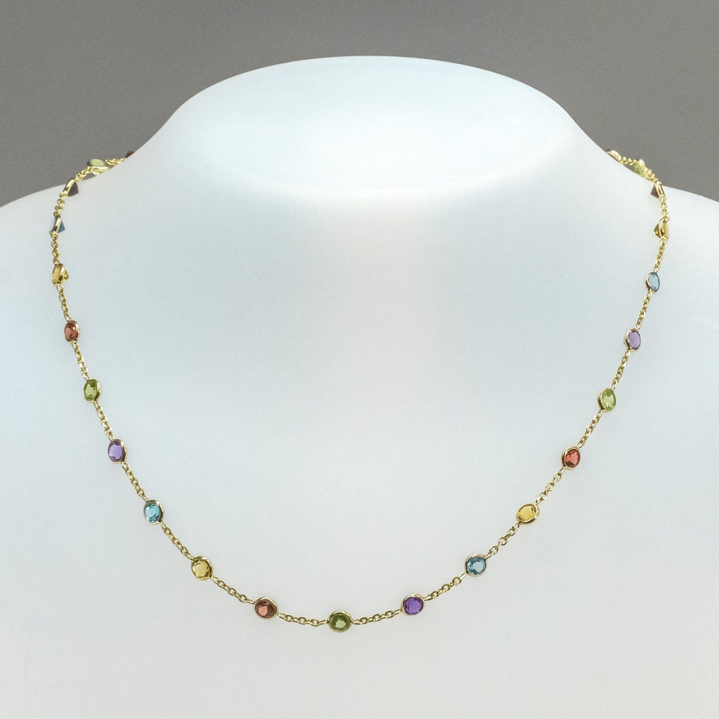 "Multi Gemstone Station 16"" Necklace 5.80ctw in 14K Yellolw Gold Necklaces Oaks Jewelry"