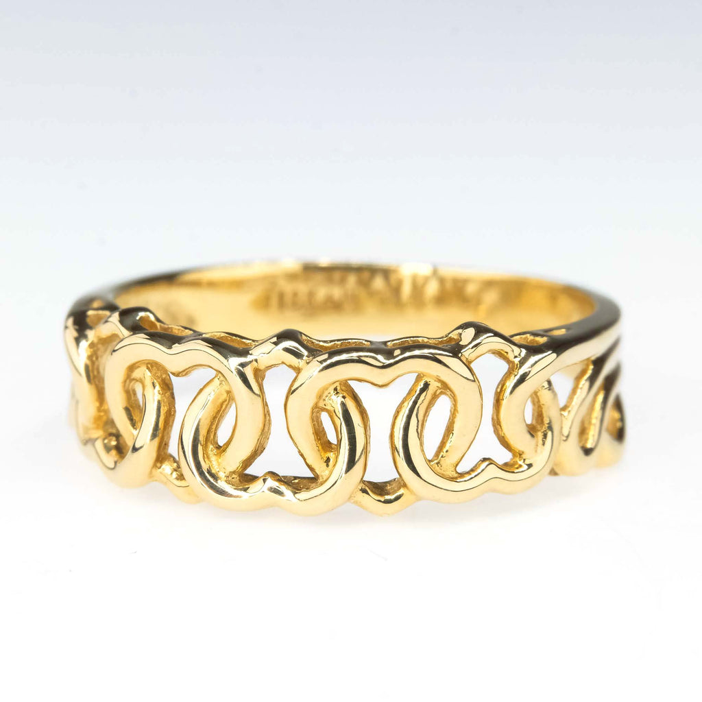 Multiple Interlocking Heart Band Ring in 18K Yellow Gold Metal Rings Oaks Jewelry